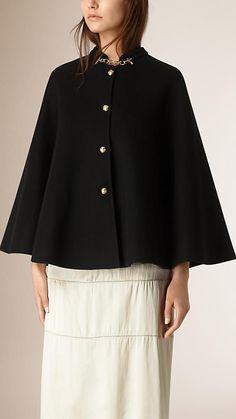 黑色 軍裝細節設計喀什米爾披肩 - 圖像 1