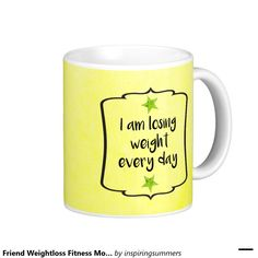 "Friend Weightloss Fitness Motivation Quote Coffee Mug. Yellow watercolour mug illustrated with the motivational affirmation quote ""I am losing weight every day"". Perfect gift for anyone who's on a healthy eating diet, weight loss or fitness journey to success."