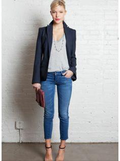 blazer, cropped jeans, heels