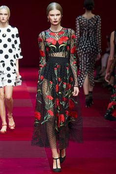 Dots and maxi floral embroidery - Dolce & Gabbana