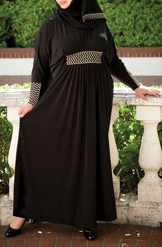 Completely Chic Dress - Black with Gold Trim, Matching Scarf - $49.99 : Affordable Plus Size Islamic Clothing | plussizemuslimah.com, Plus size Islamic dress for women. Get trendy Islamic clothing in plus sizes, plus size abayas, plus size jilbabs, and more.