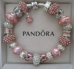 Pandora Bracelet Silver 8 3 with Charms Pink Champagne |. This one is so soft & pretty I dont think I would ever take it off.