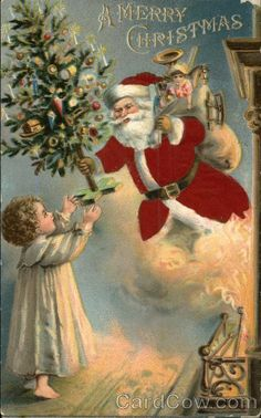 Santa With Child, Toys, and Tree