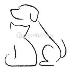 Hond & kat pictogram — Stockillustratie #7451661