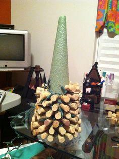 Wine cork Christmas tree with lights.