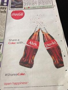 Coca-Cola suggests Alex Ferguson and David Moyes #shareacoke in print ad