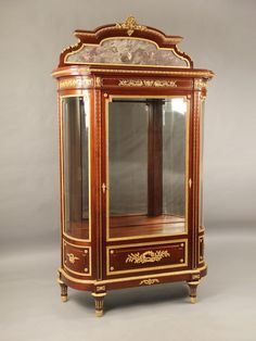 marble gilt bronze sculpture | Late 19th Century Louis XVI Style Gilt Bronze Mounted Vitrine (c. 1895 ...