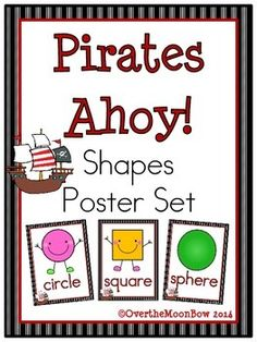 These fun, pirate themed posters will help your students learn the shapes! The perfect addition to your classroom décor, bulletin board or math center.