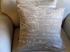 Document Scripte in KHAKI Pillow Covers 20x20 inches PAIR. $80.00, via Etsy.