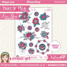 PP/191/CC/FS - Print&Play - CUTE CUTS - Flower Shop - Love Day Collection #PrintAndPlay #PlannerStickers #Scrapbooking #PaperCrafts #DigitalProducts Love Days, Cute Cuts, Studio Art, Printable Paper, Flower Crafts, Art Studios, Planner Stickers, Scrapbooking, Paper Crafts