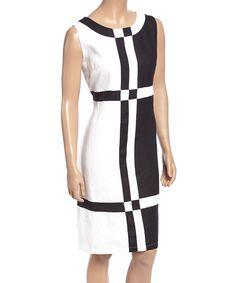 Look at this #zulilyfind! Black & White Color Block Linen Sleeveless Dress - Plus by Lino USA #zulilyfinds