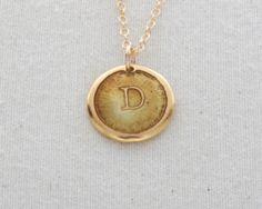 D Initial Necklace Glass Enamel On 24 Karat Gold by FusedInc, $48.00 (24 colors) #jewelry #enamel #necklace