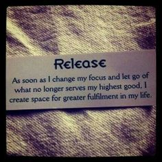 Release what does not serve you.