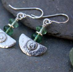 Ulu Earrings  handmade silver and Fluorite by DeborahJonesJewelry, £35.00