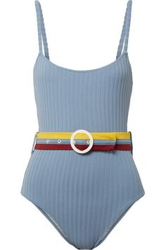0722849972 Solid & Striped - The Nina Belted Ribbed Stretch-knit Swimsuit - Sky blue