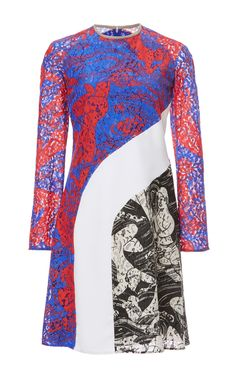 Printed Lace Long Sleeve Dress by Carven Now Available on Moda Operandi