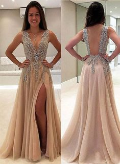 Trendy prom dresses - V neck long prom champagne dress – Trendy prom dresses Champagne Formal Dresses, Champagne Evening Dress, Cocktail Dresses, Dress Formal, Grad Dresses Long, V Neck Prom Dresses, Dress Prom, Goddess Prom Dress, Pink Dresses