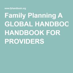 family planning clinical practice handbook
