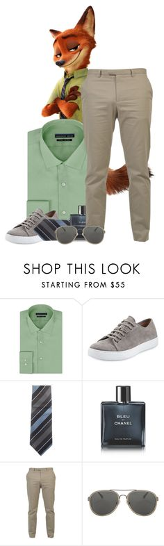 """Zootopia: Nicholas Wilde"" by xo-kallio ❤ liked on Polyvore featuring Geoffrey Beene, Vince, Gucci, Chanel, Dries Van Noten, men's fashion, menswear, disney, classy and disneybound"