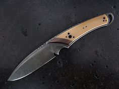 """Custom Fixed Blade Knife   Steel: CPM S35VN OAL: 9-1/2"""" Thickness: 1/4"""" Cutting edge: 4-1/4"""" Blade depth: 1-5/16"""" Handle: G10 Sheath: Leather"""