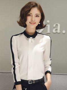 Simple  Black  Stripe  Lapel  Collar  Shirt