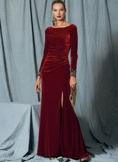 Badgley Mischka for Vogue Patterns. V1520 MISSES' SIDE-GATHERED, LONG SLEEVE DRESS WITH BEADED CUFFS sewing pattern