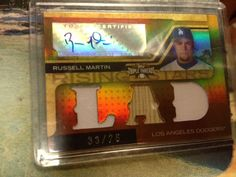 RUSSELL MARTIN AUTOGRAPHED  TRIPLE GAME USED CARD # 33/75