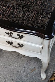 Shabby Chic end table, textured, paintable wallpaper on top.