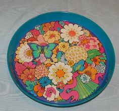 Vintage Pyschedelic Flowers Butterfly Tin Tray