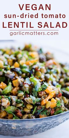 20 min MEDITERRANEAN SUN-DRIED TOMATO LENTIL SALAD is an easy, gluten-free medley of wholesome, vegan goodness. It works great as a casual Summer lunch. So worth keeping and sharing! Especially if you're after including more plant protein and fibre in your diet! #lentilsalad #vegansalad #healthylentilsalad