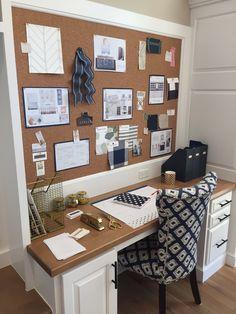 Inspo: built-in desk/ office in the kitchen. Huge pinboard.