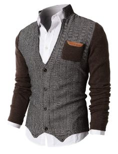 H2H Mens Herringbone Cardigan Sweater Of Knitted Sleeves in Brown