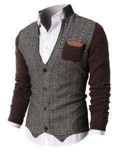 H2H Mens Herringbone Cardigan Sweater Of Knitted Sleeves in Brown