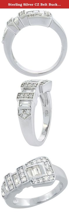 Sterling Silver CZ Belt Buckle Ring Rhodium Finish, 3/8 inch wide, size 9. Tighten your belt around this one. Popular belt buckle design with combination of cubic zirconia stones in round and emerald shapes for attention-grabbing detail. Rhodium finished for lasting brilliance. Available in sizes 6 to 9.