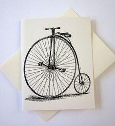 Penny Farthing Bicycle Note Cards Set of 10 with by PetitePaperie, $10.00
