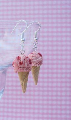 Strawberry Ice Cream Polymer Clay Earrings, Miniature Clay Dessert Food Jewelry, Hook Earrings
