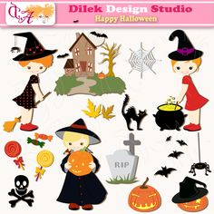 Dilek Happy Halloween clipart perfect for your craft project, scrapbooking, invitation, web design, paper product, design card and everything else.