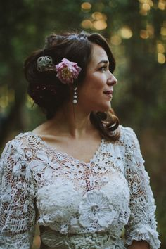 Edwardian vintage crochet wedding dress, Californian wedding, Brittany Esther wedding photography