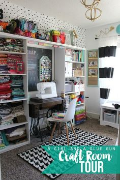 check out this super fun craft room tour-lots of great organization ideas The most beautiful picture for home decor farmhouse , t Sewing Spaces, My Sewing Room, Sewing Rooms, Sewing Room Organization, Craft Room Storage, Organization Ideas, Organizing, Storage Ideas, Craft Room Design
