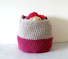 Crochet a cute storage basket for your craft room! Make it with Wool-Ease Thick & Quick!