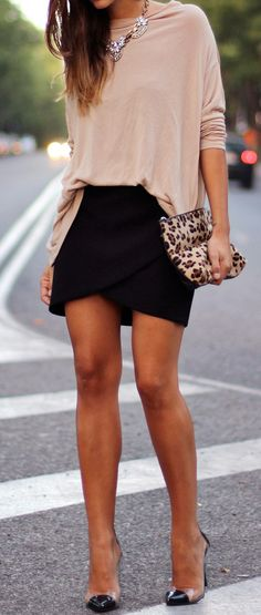 Black skirt, pale pink blouse