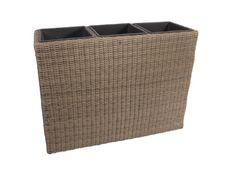 Tall Resin Wicker Planter Pots with 3 Plastic Inlay