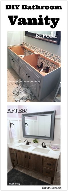 DIY 60%22 bathroom vanity make from scratch - Thrift Diving