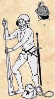 Swiss Handgunner, 15th Century. From Diebold Schilling's Berne Chronicle. Noteworthy for it's early depiction of a ramrod in use, judging from the source, the helmet with rondels and bevor was very popular, others wore chapel-de-fer, sallets, or else felt or fur caps.