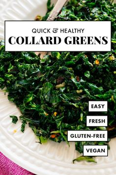 You're going to LOVE these bacon-free collards! These collard greens are quickly cooked in olive oil and finished with a squeeze of fresh lemon juice. They're the perfect simple, green side dish. Quick Collard Greens Recipe, Southern Collard Greens, Cooking Collard Greens, Healthy Sides, Healthy Side Dishes, Vegan Dishes, Black Bean Stew, Vegetable Side Dishes, Health Desserts