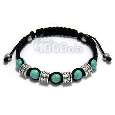 Bracelet homme/femme style shamballa perles métal couleur argent + turquoise+ hématite + fil noir fait main