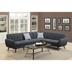 Modern Ash Black Polyfiber Linen-Like Fabric Sectional Sofa Set with Clean Lines and Curves and Accent Tufted Back Support for Living Room Mid Century Sectional, Tufted Sectional, Fabric Sectional, Corner Sectional, Modern Sectional, Loveseat Sofa, Blue Sectional, Large Sectional, Sleeper Sectional