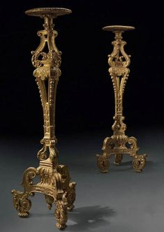 """Pair of French, Louis XIV period torcheres, In solid, carved giltwood. Circa 1700.  65"""" tall by 15"""" diameter"""