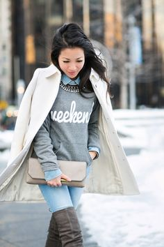 Afraid to wear white in the winter? Click over to see the most interesting ways you can wear your white winter fashion!
