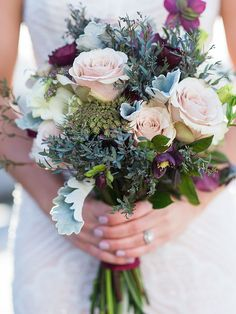 Wildflower wedding bouquet with roses